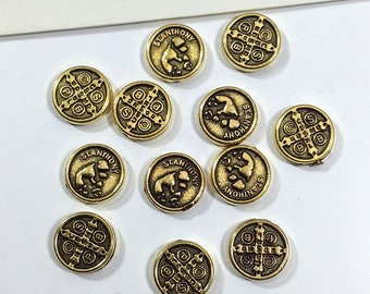 10 St Anthony Beads 9mm antiqued gold tiny religious beads, patron saint of lost people + lost things