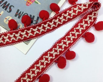 Red Pom Pom braid / trim  31mm, sold by the yard / metre,  Bohemian / Indian interiors braid