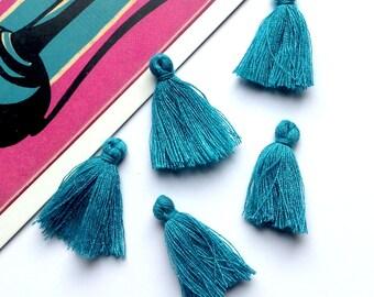 10 mini Peacock Blue tassels 25mm