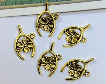 Bulk Lot 25 gold tone Lucky Wishbone & Clover Charms 23x14mm four leaf clover, wedding favours, st patricks day
