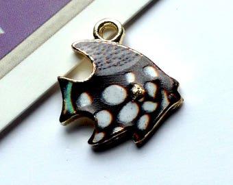 Black Enamel Angel Fish Charm 17x15mm