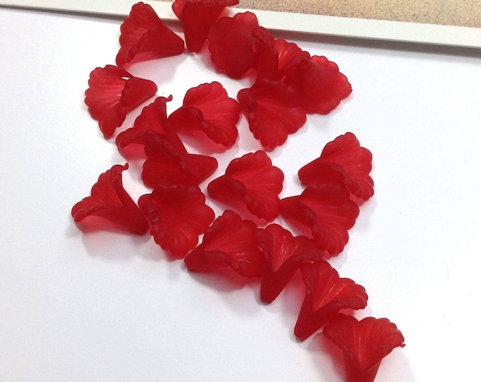 12 Red Trumpet Flower beads 13x11mm Scarlet acrylic flowers/lilies, small red lily beads  #109