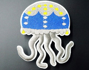 Jellyfish iron on patch 72x55mm sea creature embroidered badge for jackets, bags, jeans etc.