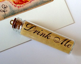 Drink Me glass bottle charm 50x10mm Alice in Wonderland fairytale / victoriana charm, choice of gold or silver bail