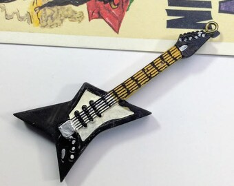 Vintage Black Electric Guitar Pendant 72x29mm music themed / dimebag rock guitar for hanging decoration #36B