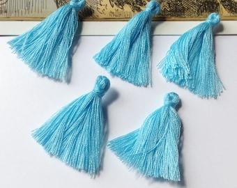 10 mini Sky Blue cotton tassels 25mm Bohemian Moroccan / Indian style pale blue boho supplies