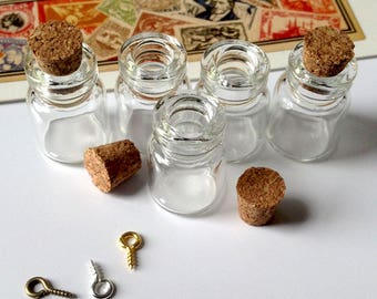 5 clear glass 23x15mm MINI short bottles / charms with cork lids