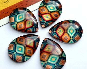 5 Aztec Teardrop Glass Cabochons 25x18mm bohemian flatbacks, boho findings/supplies for jewelry making / mosaic cabs