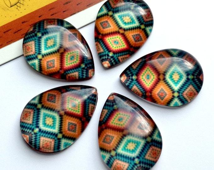 5 Aztec Teardrop Glass Cabochons 25x18mm bohemian flatbacks, boho findings/supplies for jewelry making / mosaic cabs
