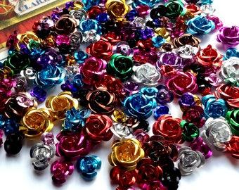 Bulk Lot 150 Mixed metal rose beads lot 6-14mm