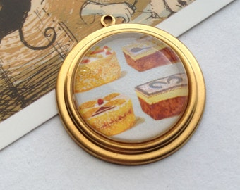 Cake Selection Glass & Brass Charm / Pendant 35x32mm for tea party / Alice in Wonderland theme