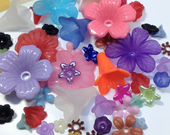 50pc flower bead mix, vintage and new, lucite and plastic multi-color mix
