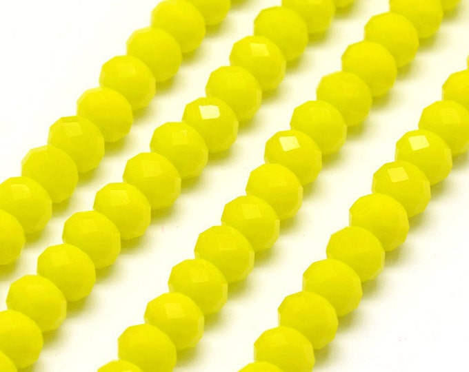 15 yellow 8x6mm faceted glass beads