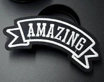 AMAZING iron on patch 105x35mm large black/white embroidered badge for jackets, bags, jeans etc.