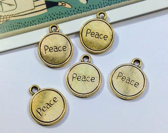10 gold tone Peace Charms 17x13mm shiny gold yoga / hippie trinkets, mini peace medals