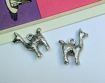 5 Llama Charms 18x15mm silver tone alpaca