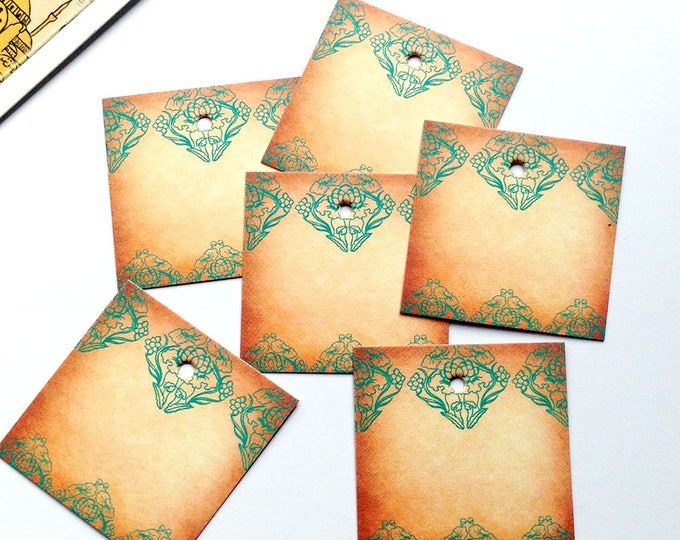 10 Bohemian Swing Tickets 40mm x 40mm square price tags, aged finish / turquoise design.