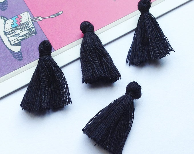 10 mini black cotton tassels 25mm