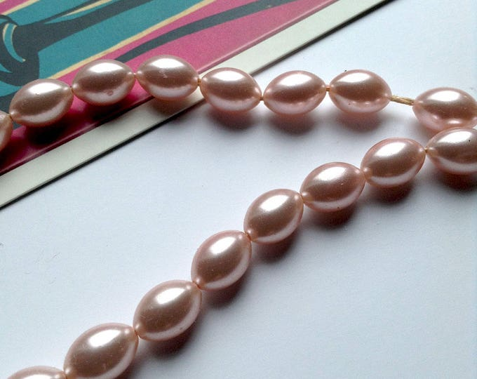 25pc strand Vintage Baby Pink Japanese beads 11x7mm