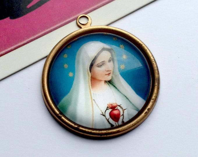 Vintage Sacred Heart Virgin Mary Charm 33x30mm round brass & glass domed medal, religious pendant