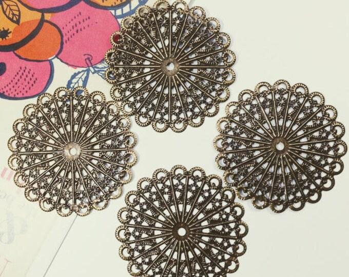 4 Antique Bronze round filigree stampings 42mm  / dark brass connector findings