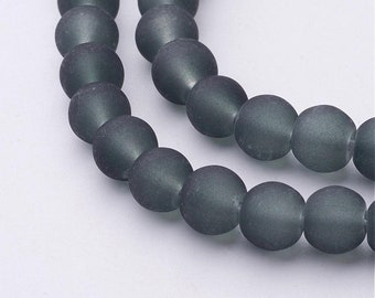 12 or Bulk Lot 50 Smoke Grey Frosted glass beads 8mm