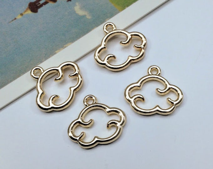 4 cute cloud charms 15x13mm gold tone clouds, for earring and necklace making, weather themed