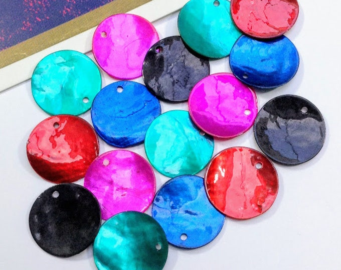 12 pearly round shell charms 18mm mermaid tail jade green, fuchsia pink, teal, sapphire blue