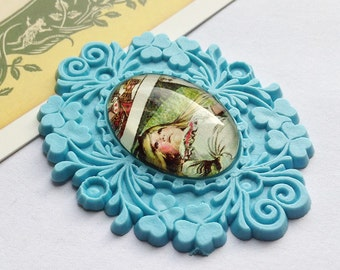Vintage Pale Blue Alice in Wonderland Brooch/Pendant Part 52x40mm