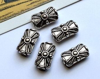 5 silver tone metal Bohemian parcel beads 15x9mm