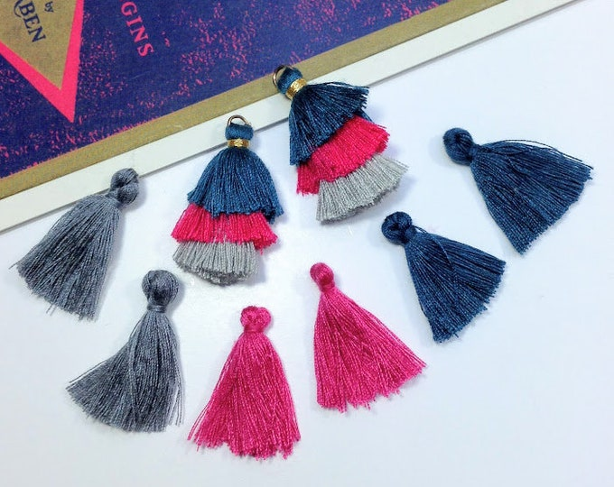 8pc mini Tassel Charms Mix, Deep Peacock Blue, fuchsia pink & smoke grey cotton tassels 25mm boho tassels for jewelry making / crafts