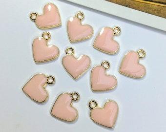 10 Pale Pink Enamel Heart Charms 12x11mm