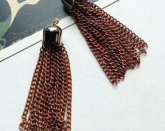 2 vintage 60mm copper chain tassel charms