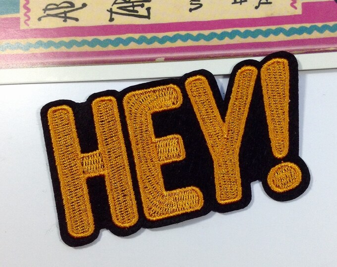 HEY! iron on patch 784x48mm embroidered badge for jackets, bags, jeans etc.