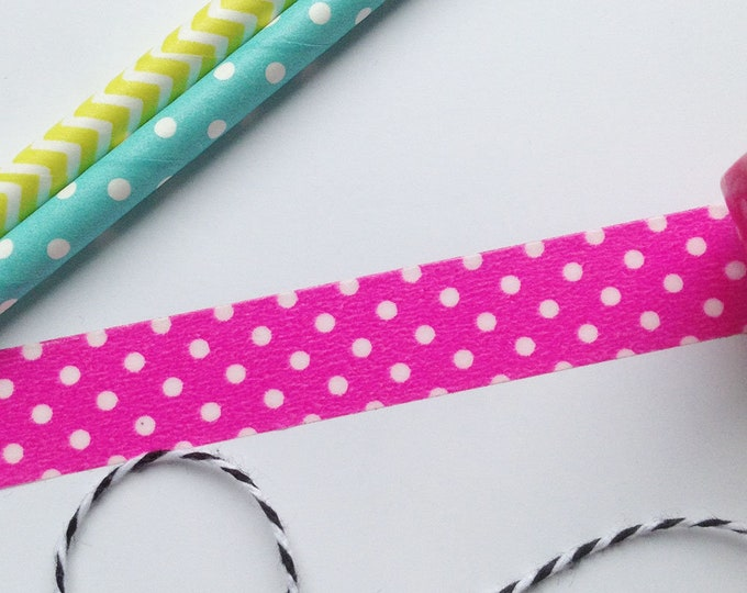 8m roll Hot Pink / White Polka Dot Washi Tape 15mm wide cute adhesive crafts tape for stationery, gift wrap, journals, scrapbooking