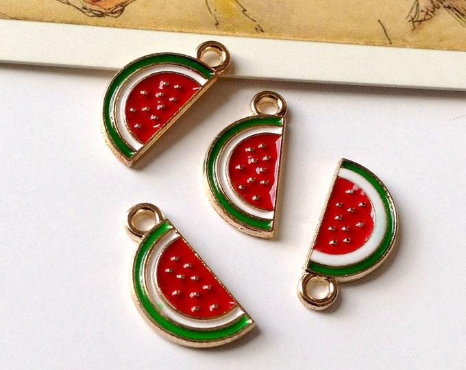 Bulk Lot 25 Enamel Watermelon Charms 17x6mm