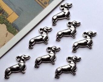 6 silver tone Dachshund dog charms 21x13mm