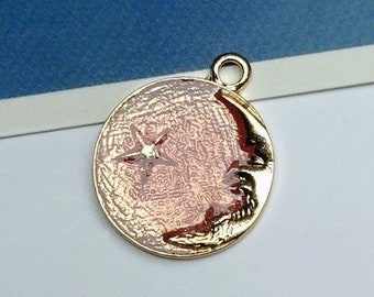 Pale Pink & Gold Round Moon Charm 27x23mm