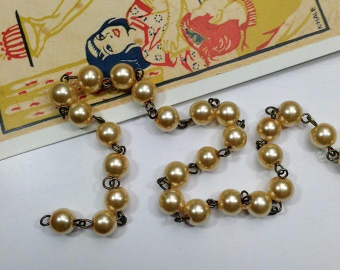 Pale Apricot Glass 8mm Pearl bead chain, 1 metre