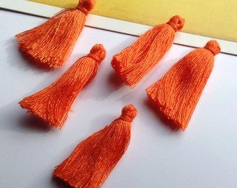 10 mini Orange cotton tassels 25mm Bohemian Moroccan / Indian style bright boho supplies - tassels for earrings/bracelets/necklace
