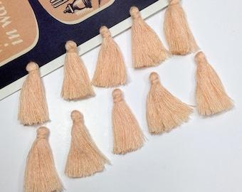 10 mini Palest Peach Blush cotton tassels 25mm Bohemian Moroccan / pastel boho supplies