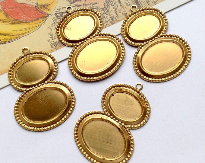 4 x Vintage Brass Double 14x10mm & 18x13mm Settings, set cabochons/cameos into charms