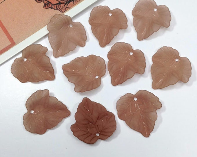 10  Autumn/Fall Leaf Frosted Charms 24x22mm brown ivy leaves, autumnal, pretty foliage for jewelry making