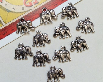 8 Elephant charms 12x14mm silver tone metal, Indian Bohemian mini hippy trinkets