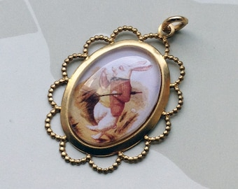 Alice in Wonderland white rabbit charm 40x30mm