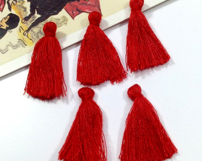 10 mini red tassels 25mm cotton, boho supplies, Bohemian Moroccan / Indian style tassels for boho bracelets