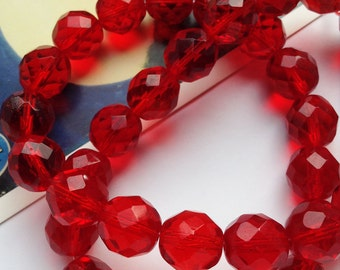 Bulk 50 Ruby Red Czech glass faceted glass beads 12mm round #20A