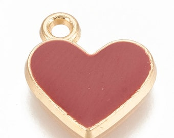 10 Red Enamel Heart Charms 12x11mm