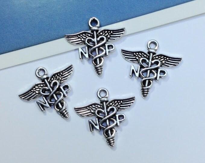 4 silver tone Nurse Practitioner Charms 20x20mm serpents Caduceus nursing symbol, hospital/medical charms