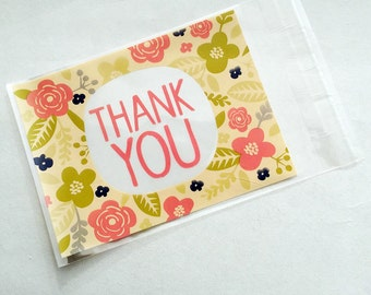 Thank You illustrated floral Cello Bags 13x10cm for packaging candy, wedding favours, beads etc.